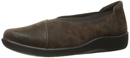 Clarks Womens Sillian Holly Flat, Brown Synthetic, 6 W US