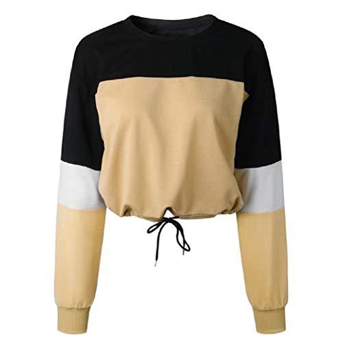 Women's Color Block Sweatshirt Casual Long Sleeve Blouse Sex Drawstring Hem Tops (Khaki, XL)