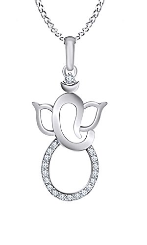 AFFY White Gold Over Sterling Silver Stamped 925 Hindu Ganesh/Ganapati Religious Pendant Necklace ()