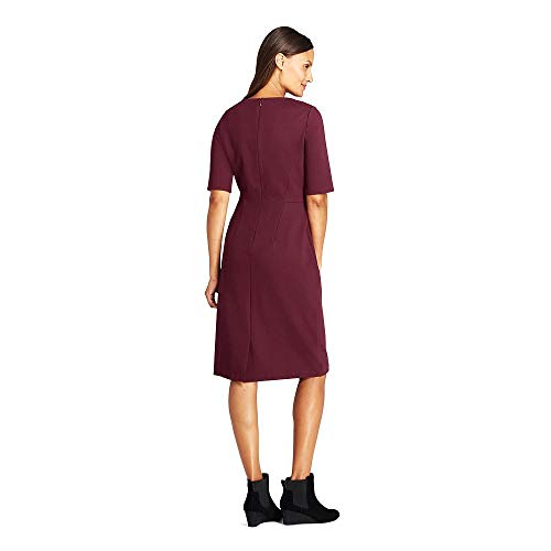 (Lands' End Women's Petite Ponte Knit Sheath Dress with Elbow Sleeves, 16, Deep Claret)