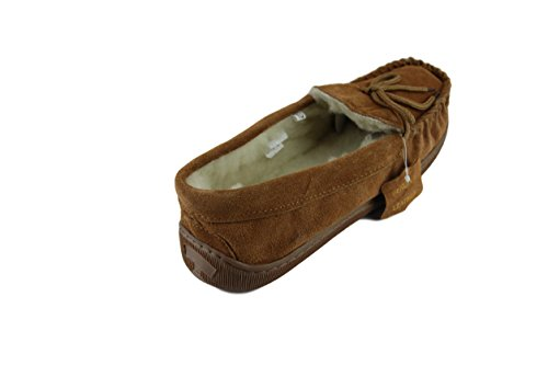 World Extra Thick Tan Hard Men's Slippers Lambswool Sole Sheepskin Warm Moccasin 4xYqd1O1w