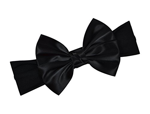 Satin Bow Baby Headband By Funny Girl Designs Fits Newborn to 1 Year (Black)