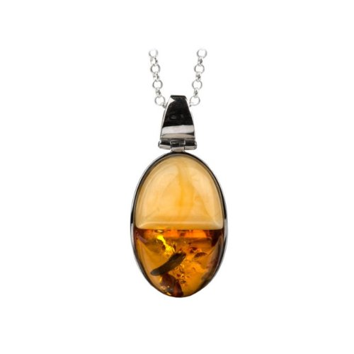 """Honey Butterscotch Amber Sterling Silver Two-stone Pendant Rolo Chain 18"""""""