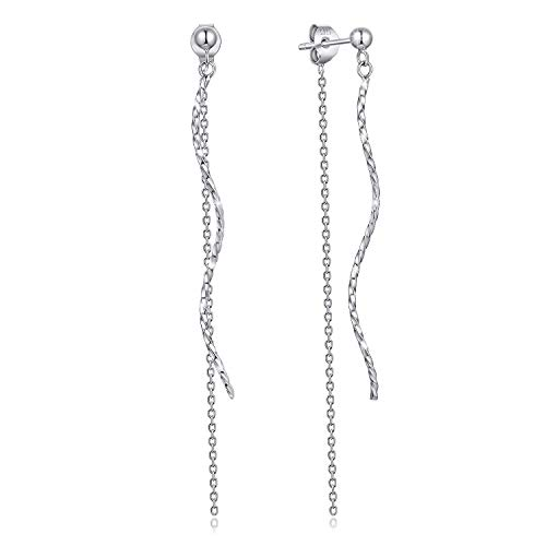 Long Spiral Earrings - Long Chain twist Sterling Silver String Hypoallergenic linear Spiral Drop Dangle Earrings Light weight Chain is Dainty and not too long Easy to Wear, Suitable sterling silver earrings for women girls