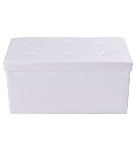 Seat Pvc White (MD Group Ottoman Storage 30-Inches Large Foldable White PVC Leather Light-weight Seat)