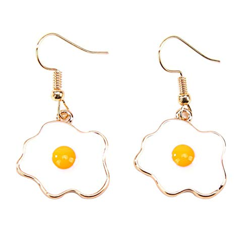 Riverlily Women Girls Omelette Shape Earrings Fried Egg Pendant Ear Clip Pin Ear Hook Jacket Spike Jewelry