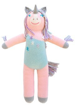 Blabla Confetti The Unicorn Plush Doll - Knit Stuffed Animal for Kids. Cute, Cuddly & Soft Cotton Toy. Perfect, Forever Cherished. Eco-Friendly. Certified Safe & Non-Toxic.