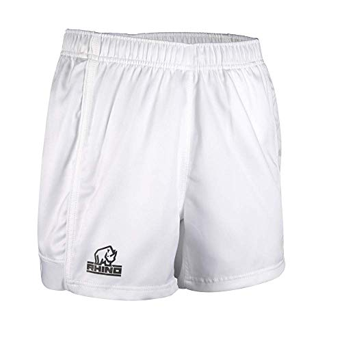 White Rugby Shorts - Rhino Mens Auckland Rugby Shorts (M) (White)
