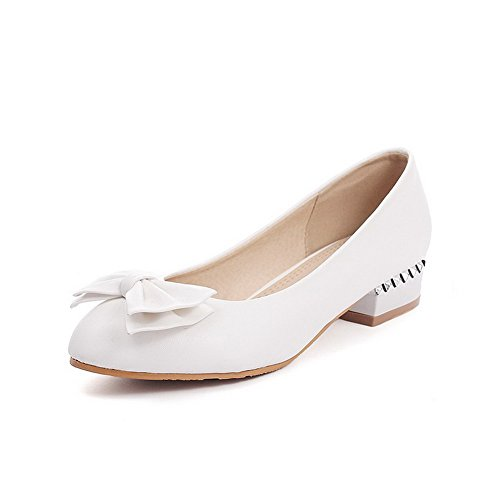à Bas Femme Légeres AllhqFashion Couleur Talon Blanc Chaussures Rond Tire Unie 5qawS