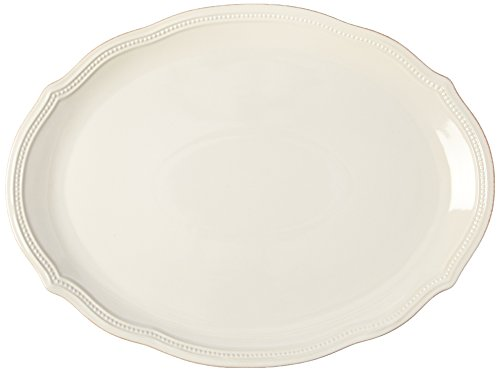 Lenox French Perle Bead Oval Platter, 16-Inch, White ()