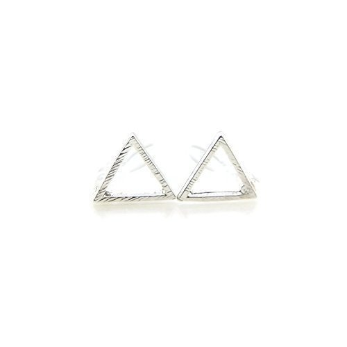 Open Triangle Stud Invisible Clip On Earrings, 9mm Brushed Silver-Tone