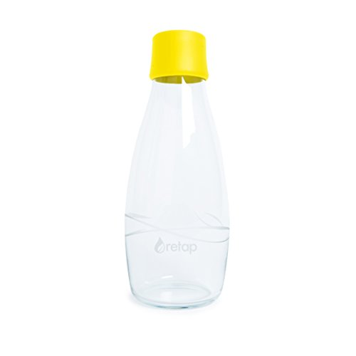 Retap Eco-Friendly Refillable BPA Free Borosilicate Glass Bottle and Water Infusion - Yellow – 17-Ounce by ReTap