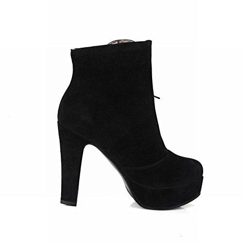 Carolbar Vrouwen Plus Size Lace Up Platform Hoge Hak Korte Jurk Laarzen Zwart