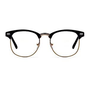 5334698ead76 Outray Vintage Retro Classic Half Frame Horn Rimmed Clear Lens Glasses
