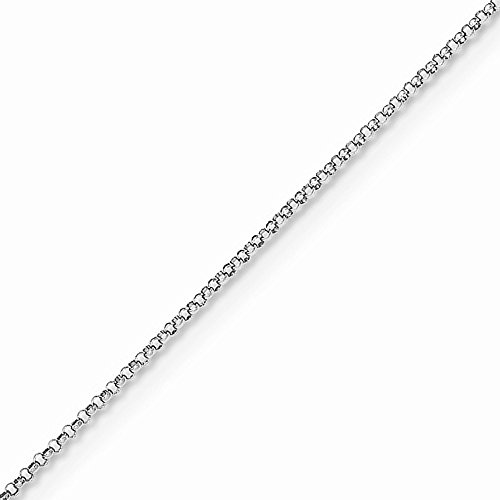 14k Gold Rolo Chain Necklace with Lobster Clasp (1mm) - White-Gold, 24 in