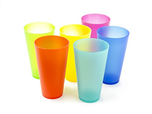 6 Pc Colorful Plastic Cups - Reusable Party Cups - BPA-Free Picnic Drinking Cups (Plastic Cup Set)