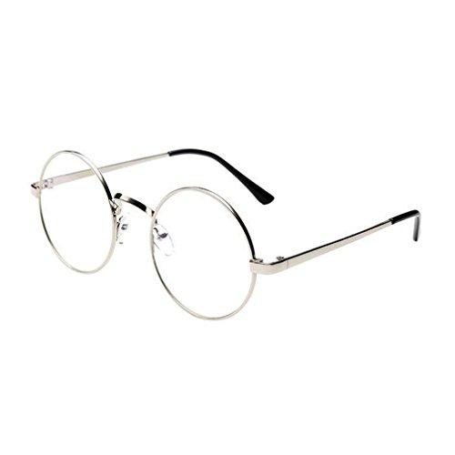 Misaky Classic Unisex Summer Vintage Retro Round Gradient Color Glasses Sunglasses (Silver, 5.0)