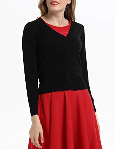 Belle Poque Women V Neck Button Down Knit Cardigan Sweater Black, Small BP748-1