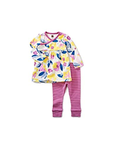 (Tea Collection Print Dress Outfit, Florals in Bloom, Flowers on Dress, Pink and White Striped Pants (3-6 Months))