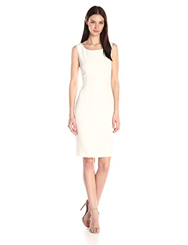 Kasper Women's Stretch Crepe Sheath Dress, Vanilla Ice, 14