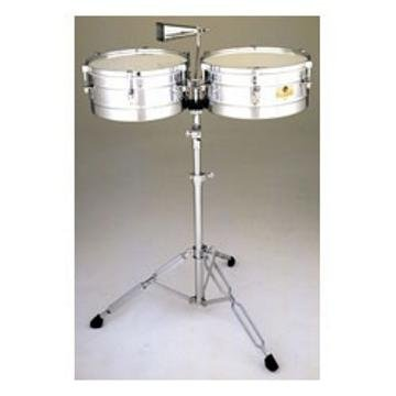 Latin Percussion 14''/15'' Caliente Steel Timbales w/Tilt Stand & Cowbell