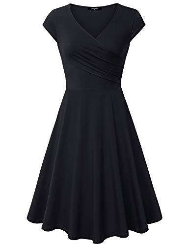 Lotusmile Sun Women Dresses Evening, Flared Plus Size Midi Dress Sundress,XX-Large All Black