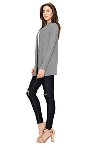 Lock and Love WSK1301 Womens Open Draped Knit Shawl Cardigan XL Heather_Dark_Grey by Lock and Love (Image #3)