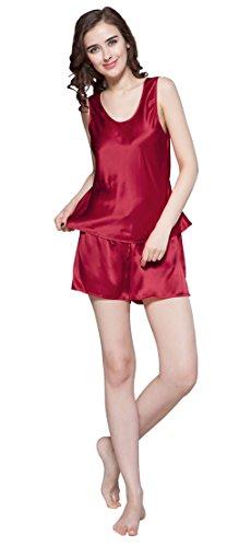 LILKSILK Conjunto de Camisola de Seda - 100% Seda de Mora Natural de Seda de 22 MM, Ideal para Verano Rojo Vino