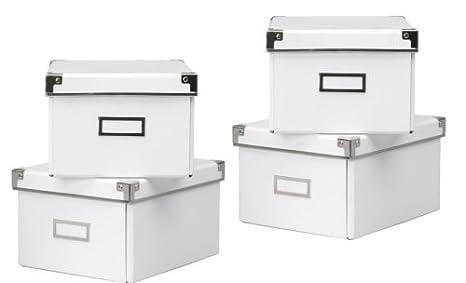 2 x IKEA blanco KASSETT DVD cajas de almacenaje con tapa , 2 unidades - TOTAL de 4 cajas para estanterías IKEA - (Billy/HEMNES/BESTA) - 21 cm x 26 cm x 15 ...