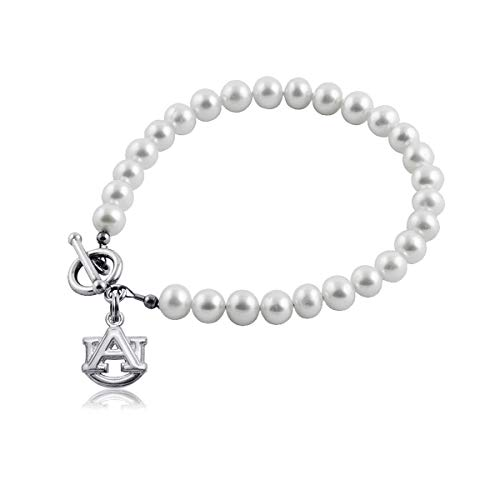 Auburn University Tigers Sterling Silver Jewelry by Dayna Designs (Pearl Bracelet) ()