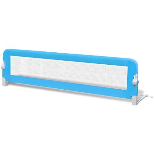 vidaXL Barandilla de Seguridad Cama de Ninos Azul Barrera Infantil de Dormir