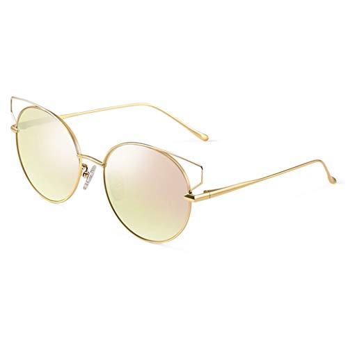 en Chat de Sport Conduite Des pour la Miroir E Monture E polarisées Couleur Femmes de métal lunettes Lunettes Soleil à Mode Yeux à soleil de Femme de Ronde Iw7U1x7qY