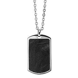 Men's Steel Fingerprint Rectangle Tag Chain Pendant