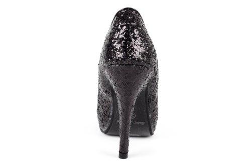 Machado Scarpe plateau nero donna Nero con glitter con Andres 4T5qwdT