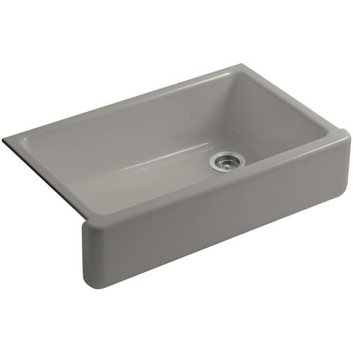 KOHLER K-6489-K4 Whitehaven Self-Trimming Apron Front Single Basin Sink with Tall Apron, Cashmere