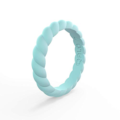 - QALO Women's Blue Aquamarine Twist Stackable Silicone Ring Size 05