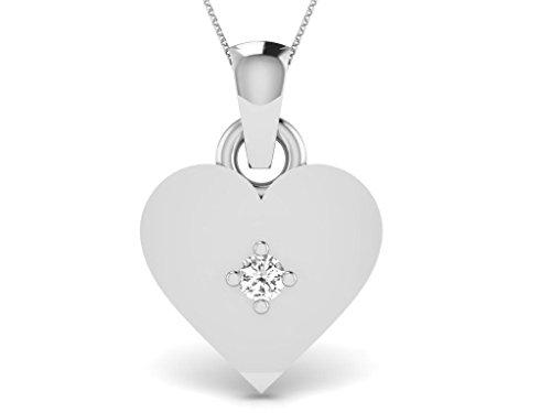 Or Blanc 14 ct Pendentifs Diamant en forme de Cœur, 0.02 Ct Diamant, GH-SI, 0.37 grammes.