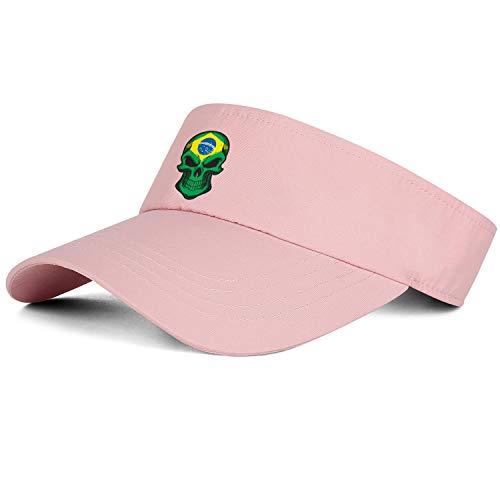 Top Level Unisex Poster Sun Visor Cap Brazil Flag Skullpink Breathable Hat