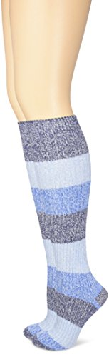 Columbia Women's Micropoly Striped 2 Pack Knee High, Navy, Shoe Size: 4-10/Sock Size: 9-11