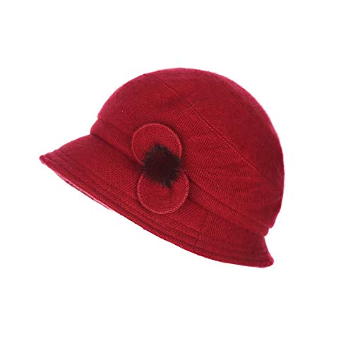 (Prefe Women's Rabbit Beanie Winter Hat Short Brim Bucket Vintage Hat Flower Accent (Red) )