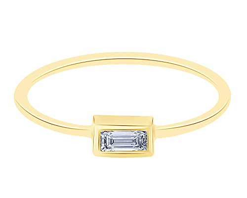 14K Yellow Sold Gold Baguette Cut Diamond Single Baguette Diamond Band Ring by Wish Rocks