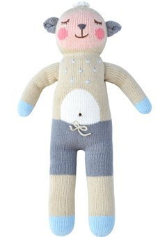 Blabla Wooly the Sheep Plush Doll - Knit Stuffed Animal For Kids. Cute, Cuddly & Soft Cotton Toy. Perfect, Forever Cherished. Eco-Friendly. Certified Safe & Non-Toxic.