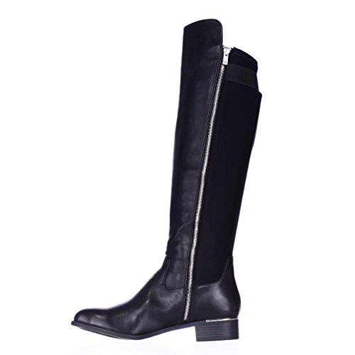Calvin Klein Womens Cyra Closed Toe Knee High Fashion, Black Leather, Size 6.5