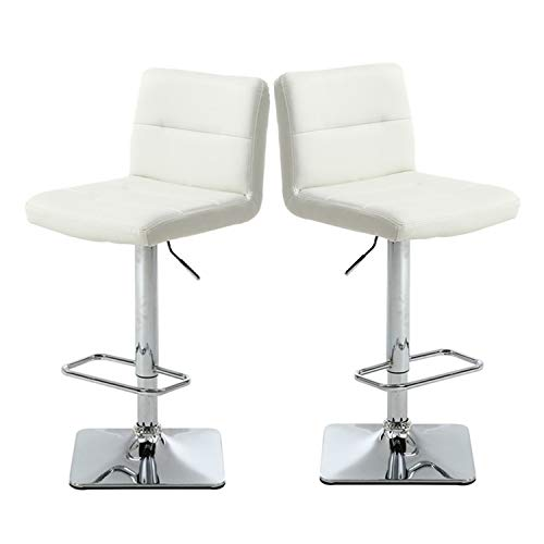 - Modern Swivel Barstools with Chrome Base, Adjustable Counter Height Bar Stool, White PU Leather Padded with Back, Set of 2, Hold Up to 350lbs