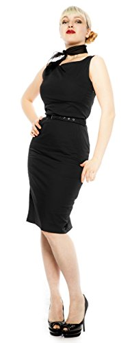 Pin Up Pencil Dress - Jet Black (Size XL (42))
