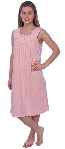 (Beverly Rock Women's Solid with Dots Sleeveless Knit Nightgown RQ118 Peach XL)