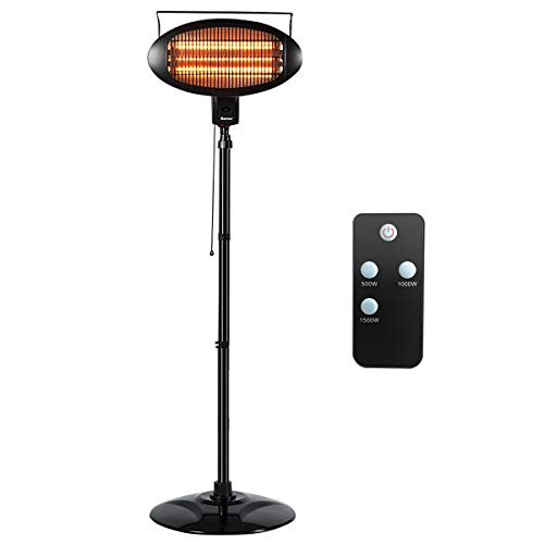 COSTWAY Electric Patio Quartz Heater with Remote Control, 1500W Halogen Freestanding Heater with Overheat Protection, Tip-Over Shut Off Waterproof Heater with 3 Power Levels for Yard/Garage/Outdoor