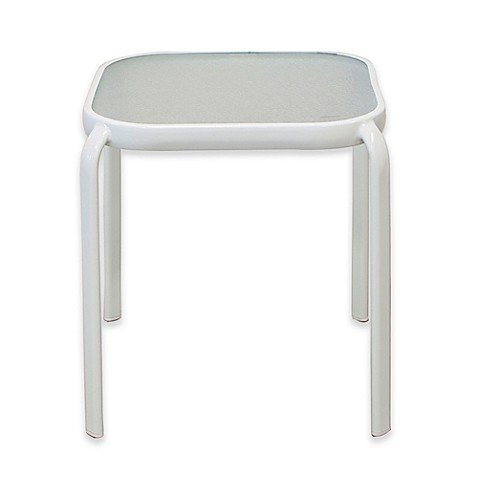 Never Rust Aluminum Glass Top End Table in (Aluminum End Table)