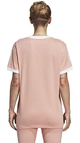 Adidas Donna Stripes 3 Pink Tee Maglietta Dust Idrrq5w