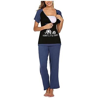 ANJUNIE Tops+Pants Pajamas Set Suit for Women Maternity Short Sleeve Nursing Baby T-Shirt Sleepwear Loung: Clothing